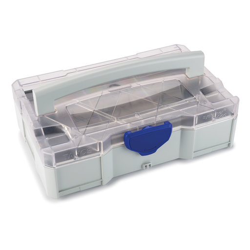 View a Larger Image of Systainer MINI T-LOC I, Light Gray with clear lid, and 8 division Insert