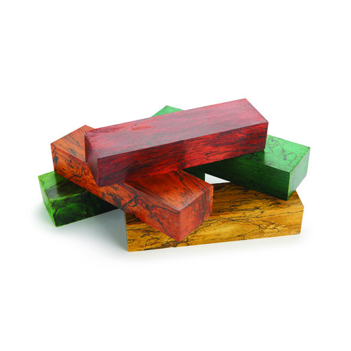 """View a Larger Image of Tamarind Spalted 1"""" x 1-1/2"""" x 5"""" Wood Knife Scale Blank Stabized & Dyed Green"""