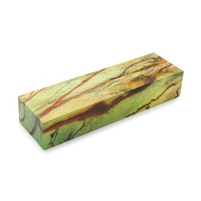 "Tamarind Spalted 1"" x 1-1/2"" x 5"" Wood Knife Scale Blank Stabized & Dyed Lime Green"