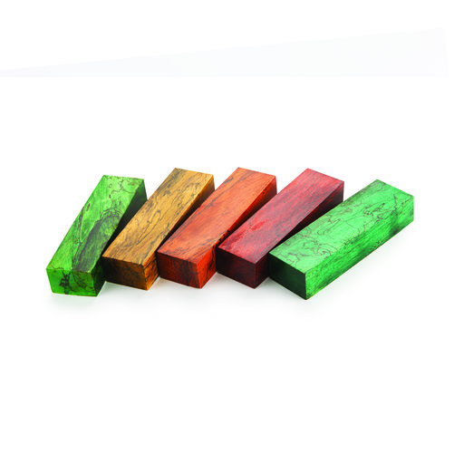 """View a Larger Image of Tamarind Spalted 1"""" x 1-1/2"""" x 5"""" Wood Knife Scale Blank Stabized & Dyed Lime Green"""