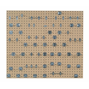 Tan Epoxy 18 Gauge Steel Square Hole Pegboards w/63 pc. LocHook Assortment
