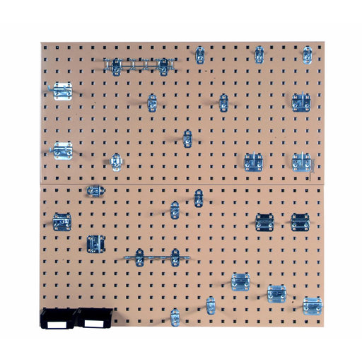View a Larger Image of Tan Steel Square Hole Pegboards with 30 pc. LocHook Assortment & Hanging Bin System