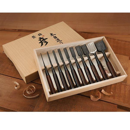 View a Larger Image of Tasai Damascas Pattern Blue Steel Multi-Hollow Back Japanese Chisel Set with Ebony Handles in Signed Box