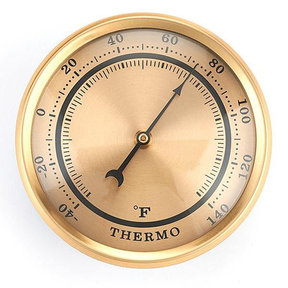 Thermometer w/Brushed Gold Dial and Brushed Gold Bezel