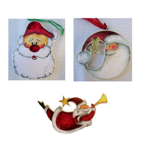 View a Larger Image of Three Santa Face  Woodworking Pattern and Picture