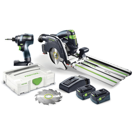 View a Larger Image of TID 18 Cordless Impact Driver and HKC 55 Cordless Track Saw Set