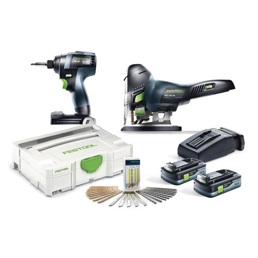 View a Larger Image of TID 18 Cordless Impact Driver and PSC 420 Cordless CARVEX Jigsaw Set