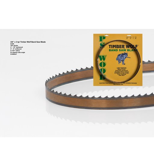 """View a Larger Image of Bandsaw Blade 111"""" x 3/4"""" x 3 TPI Thin Positive Claw"""