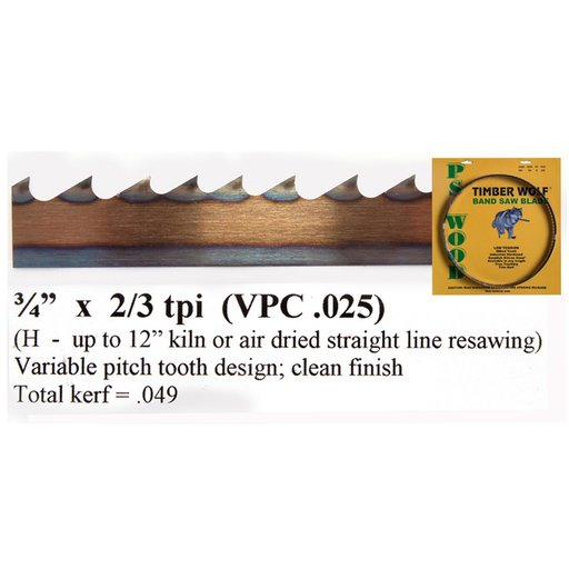 """View a Larger Image of Bandsaw Blade 115"""" x 3/4"""" x 2/3 TPI Variable Positive Claw"""