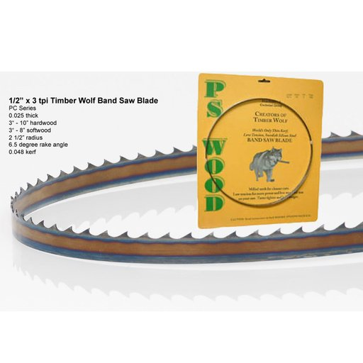 "View a Larger Image of Bandsaw Blade 133"" x 1/2"" x 3 TPI Positive Claw"