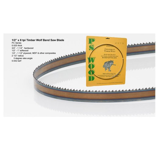 "View a Larger Image of Bandsaw Blade 133"" x 1/2"" x 8 TPI Positive Claw Raker"