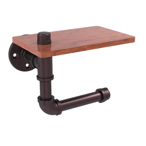View a Larger Image of  Toilet Paper Holder with Wood Shelf, Antique Bronze Finish