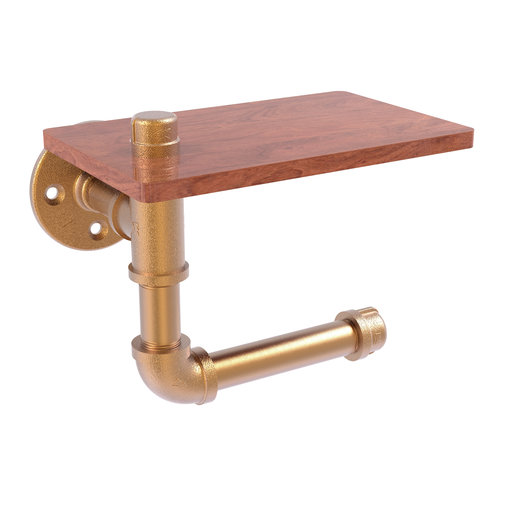 View a Larger Image of  Toilet Paper Holder with Wood Shelf, Brushed Bronze Finish