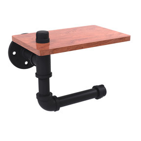 Toilet Paper Holder with Wood Shelf, Matt Black Finish