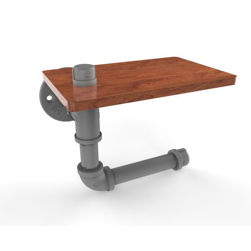 View a Larger Image of  Toilet Paper Holder with Wood Shelf, Matt Gray Finish