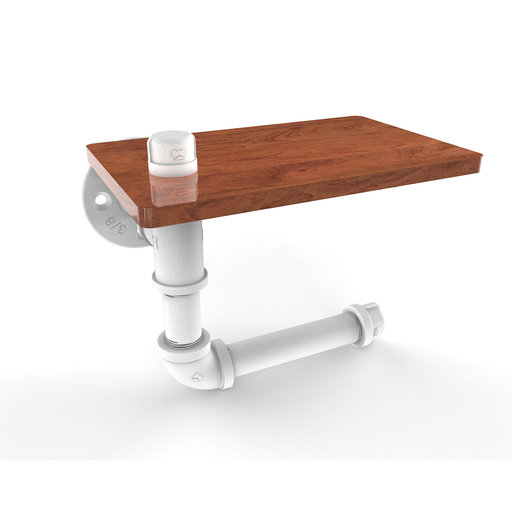 View a Larger Image of  Toilet Paper Holder with Wood Shelf, Matt White Finish