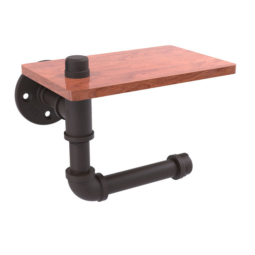 View a Larger Image of  Toilet Paper Holder with Wood Shelf, Oil Rubbed Bronze Finish