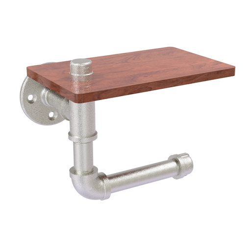 View a Larger Image of  Toilet Paper Holder with Wood Shelf, Satin Nickel Finish