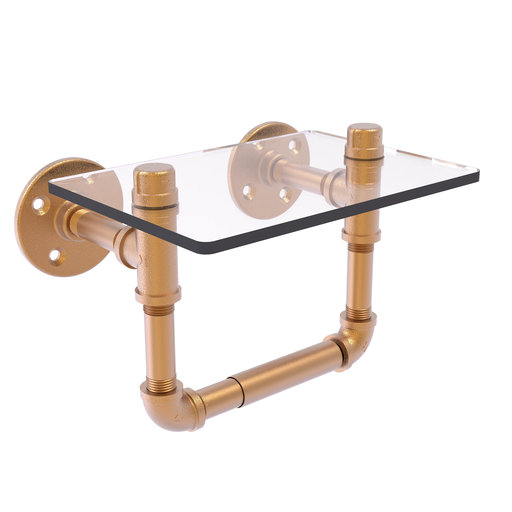 View a Larger Image of  Toilet Tissue Holder with Glass Shelf, Brushed Bronze Finish