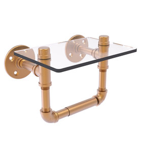 Toilet Tissue Holder with Glass Shelf, Brushed Bronze Finish