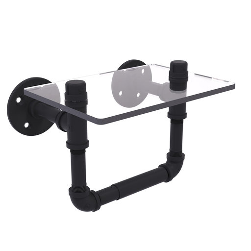 View a Larger Image of  Toilet Tissue Holder with Glass Shelf, Matt Black Finish
