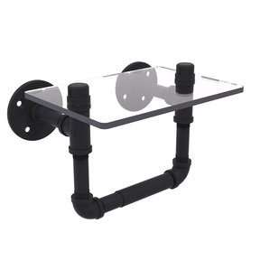 Toilet Tissue Holder with Glass Shelf, Matt Black Finish