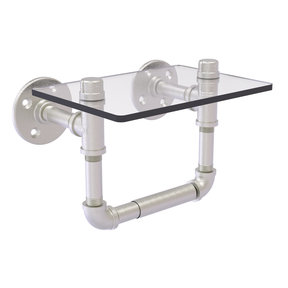 Toilet Tissue Holder with Glass Shelf, Satin Nickel Finish