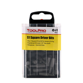 #1 Square Drive Bit, 50-Pack Interlocking Box