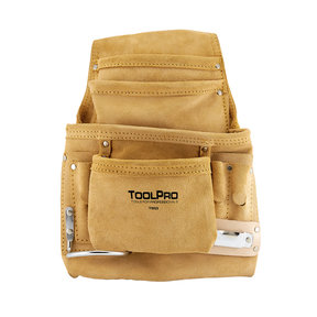 10-Pocket Nail and Tool Pouch, Suede Leather