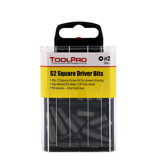 View a Larger Image of #2 Square Drive Bit, 50-Pack Interlocking Box