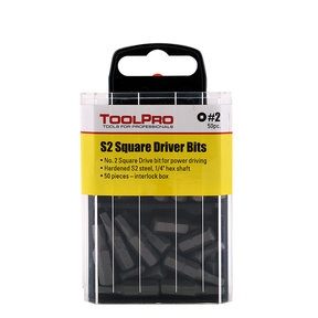 #2 Square Drive Bit, 50-Pack Interlocking Box