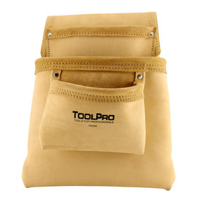 3-Pocket Nail and Tool Pouch, Split Leather