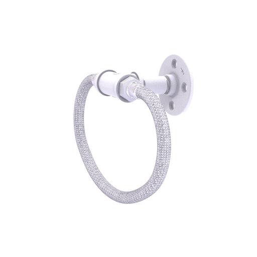 View a Larger Image of  Towel Ring with Stainless Steel Braided Ring, Matt White Finish