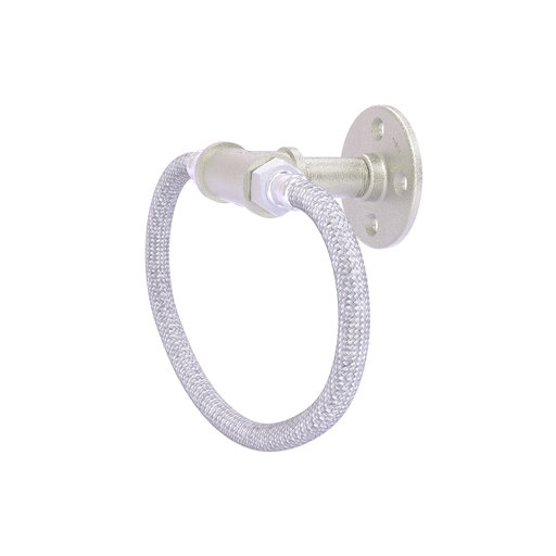 View a Larger Image of  Towel Ring with Stainless Steel Braided Ring, Satin Nickel Finish
