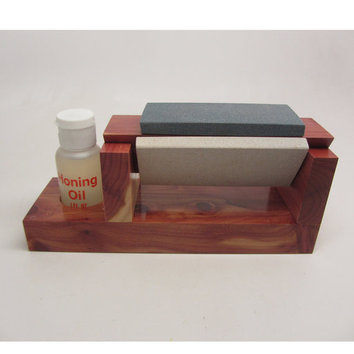 "View a Larger Image of Tri-Hone Arkansas 4"" Sharpening Set with oil holder"
