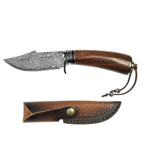 "Tribe - Damascus Fixed Blade Knife, Stainless Damascus 3-3/4"" Blade"