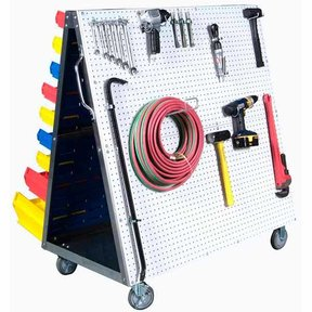 Triton Aluminum Frame Mobile Combo Cart with One side DuraBoard Poly Pegboard and One Side Louvered Panel Storage