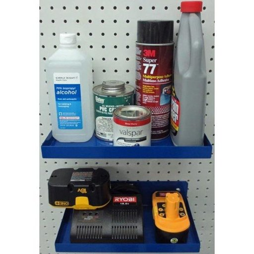 View a Larger Image of Blue Epoxy Coated Steel Shelf for DuraBoard or Pegboard (2)