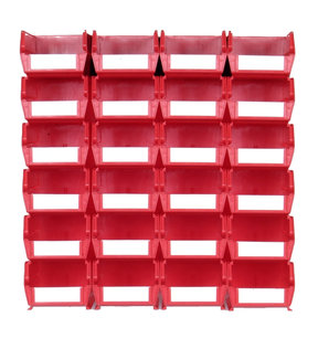 Red 26 PC Wall Storage Unit - Medium