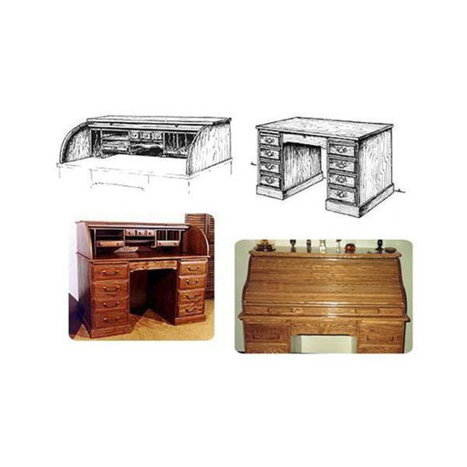 View a Larger Image of Twin Tambor Roll Top Desk Woodworking Plan