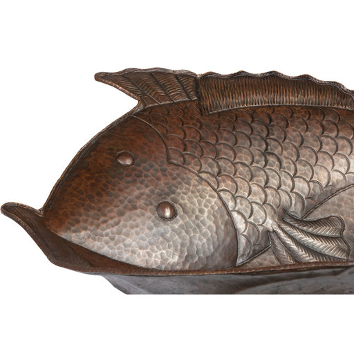 View a Larger Image of Two Fish Vessel Hammered Copper Sink