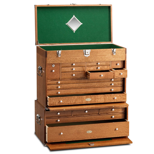 View a Larger Image of Ultimate USA Treasure Chest and Base Set in Quarter Sawn Golden Oak