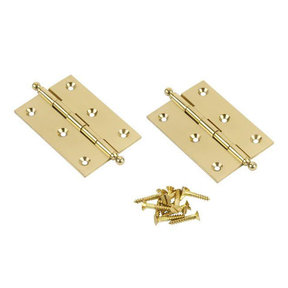 "Ball Tip Cabinet Hinge, Polished Brass 2"" x 1-1/2"" x 1/16"", Pair"