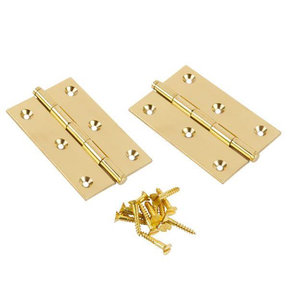 "Button Tip Hinge Polished Brass 1-1/2"" x 1-1/2"" x 1/16"" Pair"