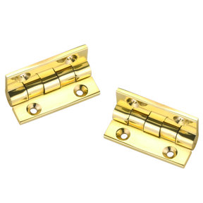 "Stop Hinge, Polished Brass 1-1/2"" x 1-1/8"", Pair"