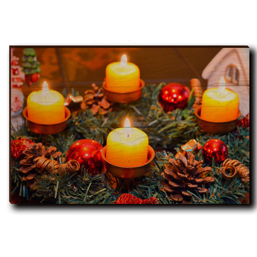 "View a Larger Image of Wall Art Candle Wreath 24"" x 16"""
