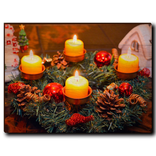 """View a Larger Image of Wall Art Candle Wreath 40"""" x 30"""""""