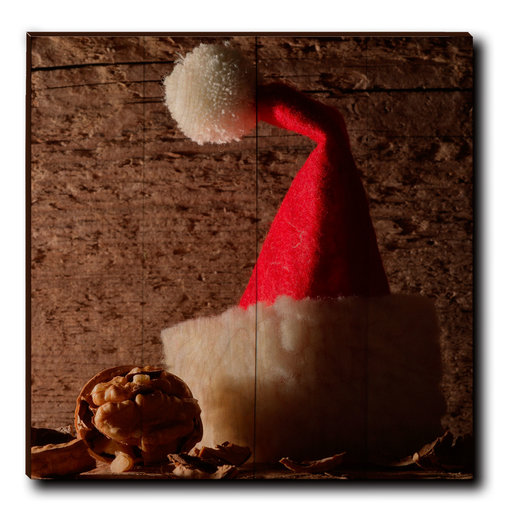 "View a Larger Image of Wall Art Here Comes Santa 24"" x 24"""