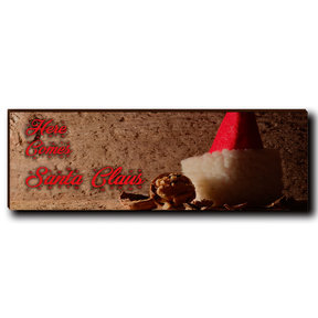 "Wall Art Here Comes Santa Red  12"" x 4"""