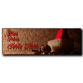 "Wall Art Here Comes Santa Red  24"" x 8"""